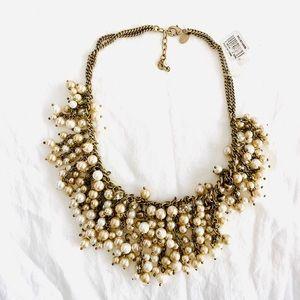 Pearl & Crystal Statement Bib Necklace New